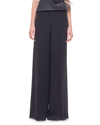 Tulle Wave Asymmetric Bustier Top & Front-Slit Wide-Leg Pants