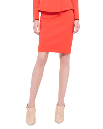 Peplum Stretch-Crepe Jacket & Zip-Pocket Pencil Skirt