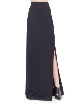 Double-Faced Side-Slit Long Skirt, Black