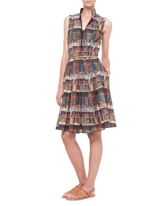 Bobines-Print Stand-Collar Shirtdress