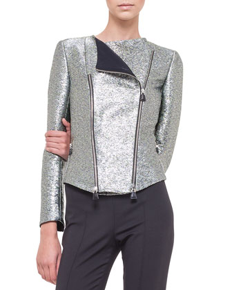 Metallic Double-Zip Moto Jacket & Melissa Slim-Fit Techno Pants