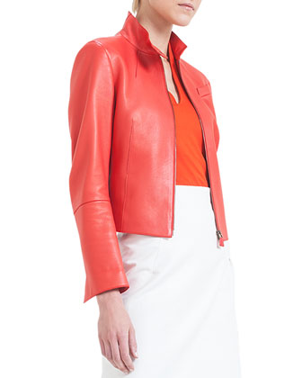 Split-Collar Asymmetric-Cut Leather Jacket, Akai