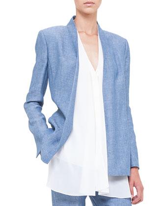 Stand-Collar Linen Jacket, Chefchaouen
