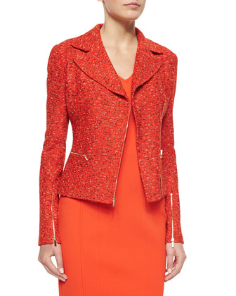 Crinkle Tweed Knit Asymmetric Jacket