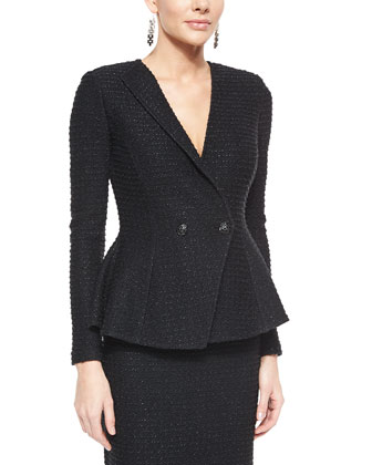 Sparkle Texture Double-Breasted Jacket & Sparkle Texture Pencil Skirt