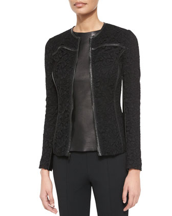 Leather-Trimmed Plume Lace Jacket, Napa Leather Combo Shell & Luxe ...