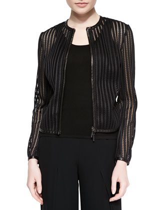Leather-Trimmed Striped Mesh Jacket, Black