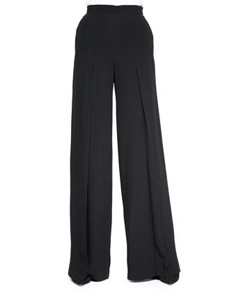 High-Waisted Wide-Leg Pants, Black