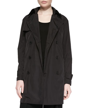 Water-Repellant Trenchcoat & Cashmere-Blend Knit Tank Top, Black