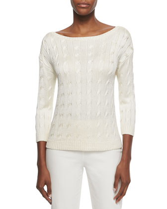 Cable-Knit Boat-Neck Sweater, Ecru