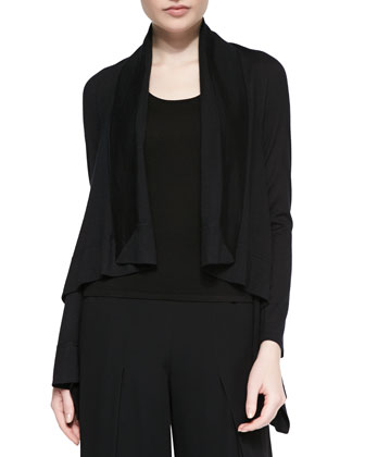 Cashmere-Blend Square Draped-Front Cardigan, Black