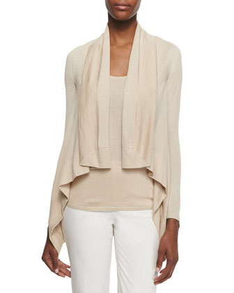 Cashmere-Blend Square Draped-Front Cardigan, Honey