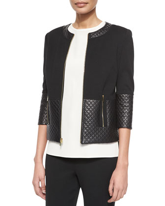 Quilted Leather Combo Jacket, Jewel-Neck Crepe de Chine Shell & ...