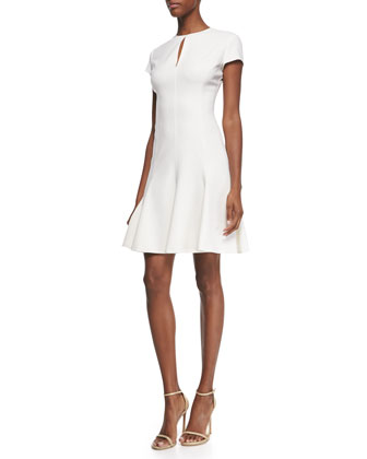 Scuba-Knit Keyhole Flare Dress, Ivory