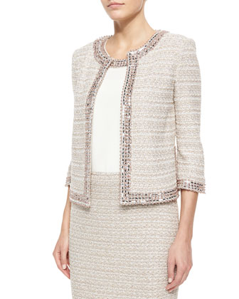 Organic Texture Jacket, Silk Shell & Pencil Skirt