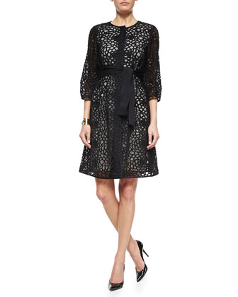 Camellia Crochet Lace Jacket, Luxe Sculpture Knit Sheath Dress & Two Tone ...
