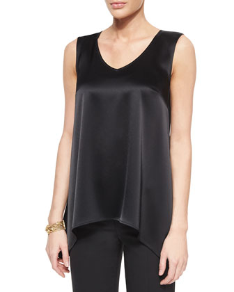 Liquid Satin V-Neck Shell