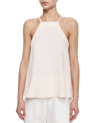 Peaked-Lapel Cropped Blazer, Square-Neck Flutter Camisole & Side-Pleated ...
