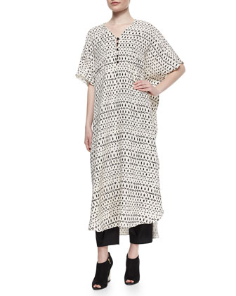 Striped Mixed-Print Long Caftan & Front-Pleated Tapered Ankle Pants