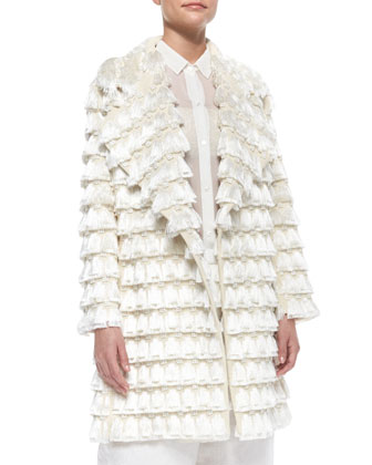 Fringe Tassel-Embroidered Coat, Cream