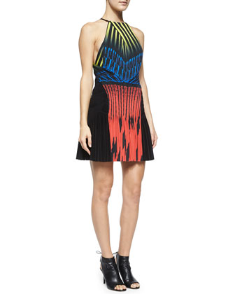 Racerback Pleat-Skirt Dress, Multi