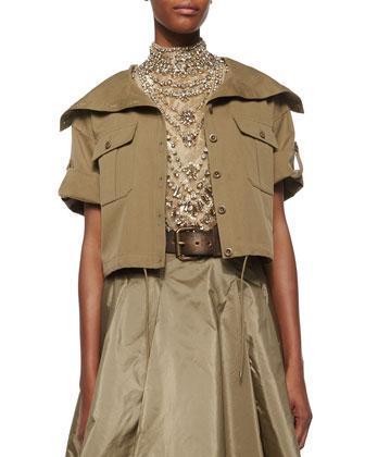 Cropped Short-Sleeve Safari Jacket