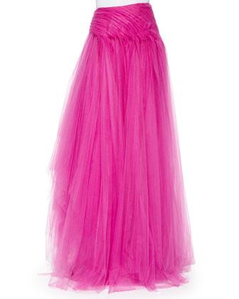 Layered Tulle Long Skirt, Fuchsia