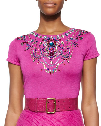 Jeweled Short-Sleeve Cashmere-Blend Top, Fuchsia
