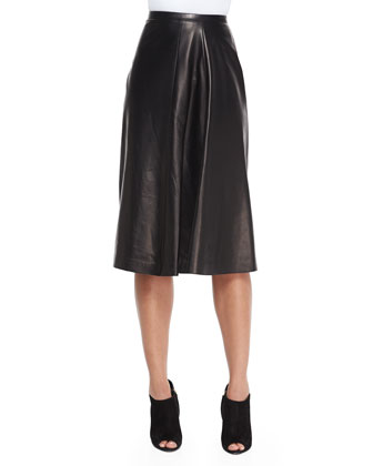Leather Paneled Midi Skirt, Black