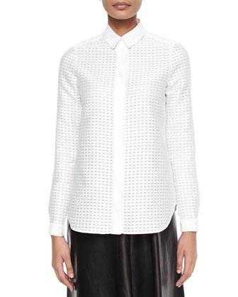 Dash-Pattern Fil Coupe Blouse, White