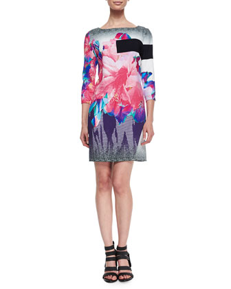Bateau-Neck Exploded Floral-Print Shift Dress