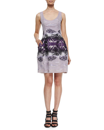 Mountainscape-Print Feather-Embroidered Dress