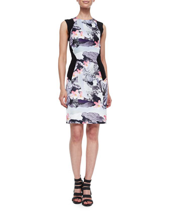 Torn Paper-Print Paneled Sheath Dress
