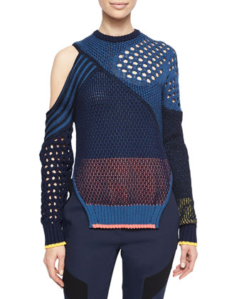 Cutout Colorblock Mixed-Knit Sweater