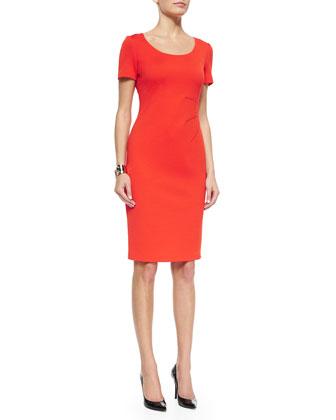 Milano Knit Scoop-Neck Short-Sleeve Sheath Dress