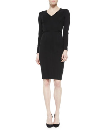 Raised-Seam Paneled Sheath Dress