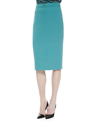 Wave-Edge Single-Button Jacket & Belted Gabardine Pencil Skirt