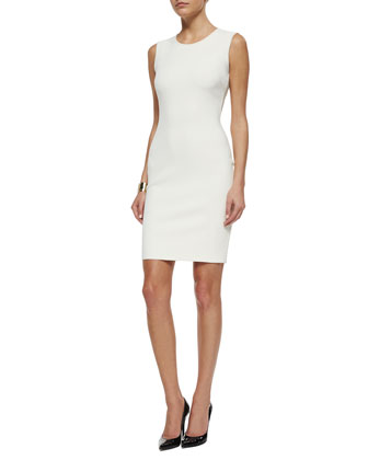 Luxe Sculpture Knit Sleeveless Sheath Dress