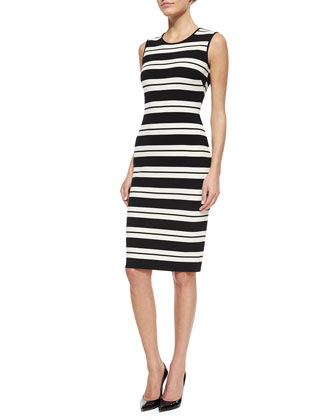 Striped Luxe Sculpture Knit Sheath Dress