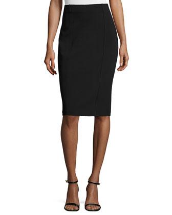 Luxe Sculpture Knit High-Waist Skirt