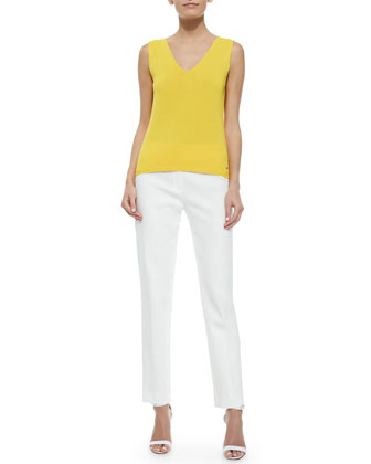 Front-Zip Straight-Leg Pants, Off White