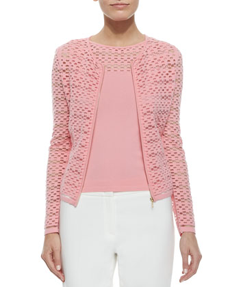 Zip-Front Sheer Mesh Cardigan & Mesh-Yoke Knit Tank Top