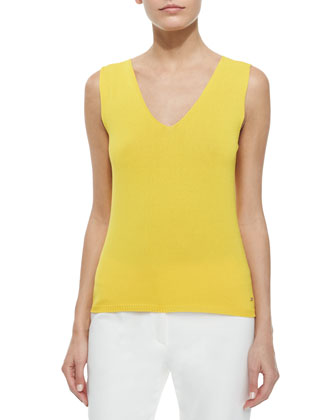 V-Neck Stretch-Knit Tank Top, Sunflower