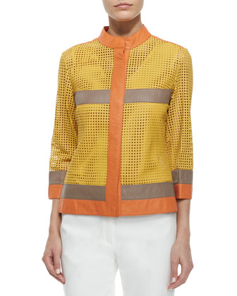Colorblock Mesh Leather Jacket, V-Neck Stretch-Knit Tank Top & Front-Zip ...