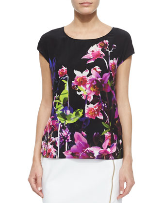 Cap-Sleeve Floral-Print Silk Top