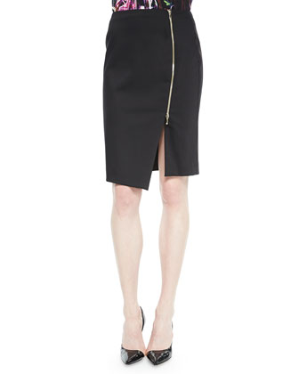 Asymmetric Zip-Slit Pencil Skirt, Black