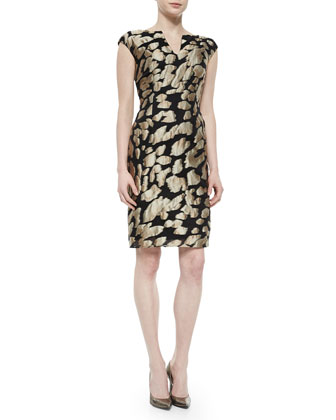 V-Neck Leopard Jacquard Sheath Dress