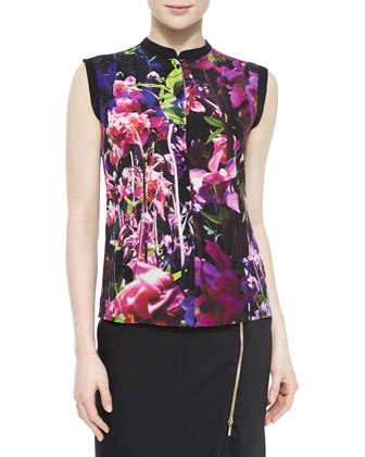 Floral-Print Silk Blouse & Asymmetric Zip-Slit Pencil Skirt