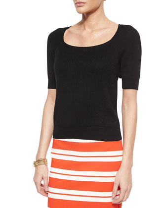 Luxe Striped Knit Pencil Skirt, Ribbed Knit Wool Sweater & Boucle Knot ...
