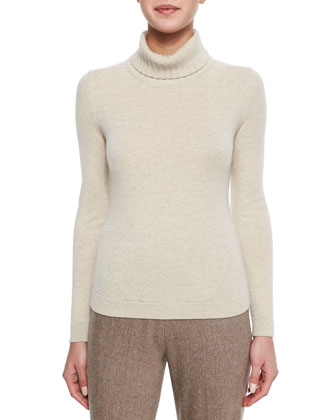 Fox Fur-Trimmed Knit Cardigan, Cashmere Wide Rib-Trim Turtleneck Sweater & ...